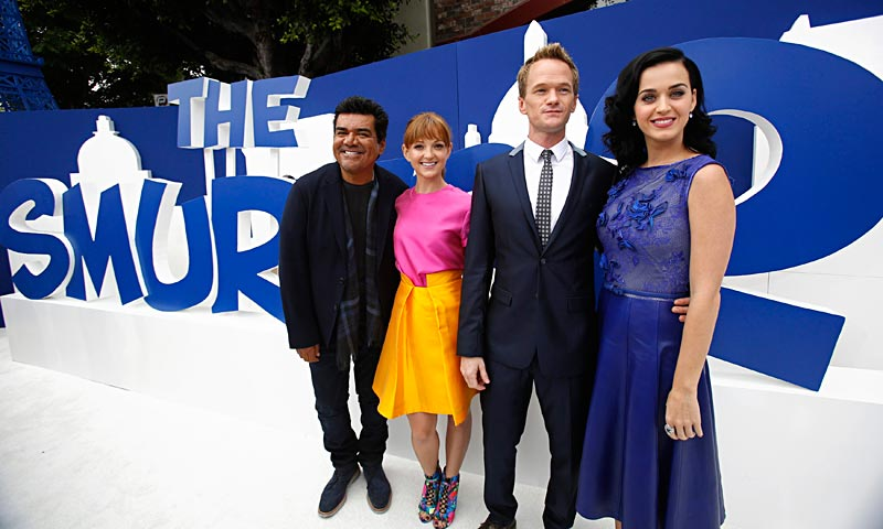 "Cast members (R-L) Katy Perry, Neil Patrick Harris, Jayma Mays and George Lopez pose at the premiere of ""The Smurfs 2"" at the Regency Village theatre in Los Angeles. The movie opens in the US on July 31.  — Reuters Photo"