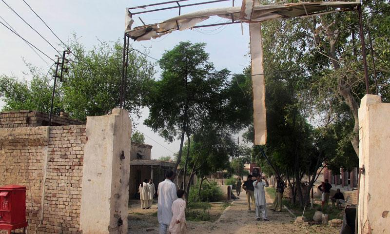 This picture shows the damaged gate of centre jail caused by a Taliban attack. — File photo