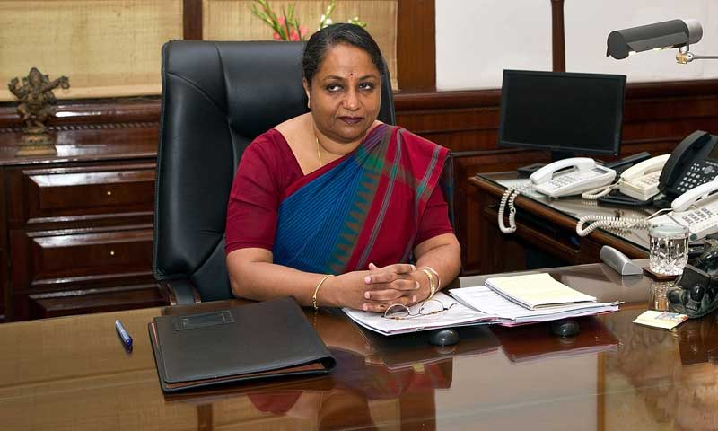 India's New Foreign Secretary Sujatha Singh in her office at The External Affairs Ministry in New Delhi on August 1, 2013. Sujatha Singh, a 1976- batch IFS officer, took charge as the new foreign secretary on August 1, as previous foreign secretary Ranjan Mathai retired on July 31. Prior to taking over as the foreign secretary, Singh served as India's ambassador to Germany (2012-13). — Photo by AFP