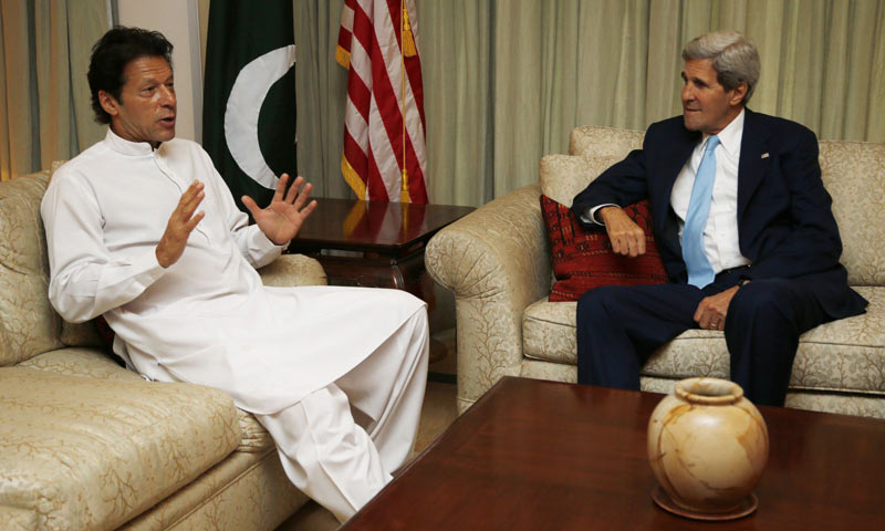 US Secretary of State John Kerry meets with  PTI chairman Imran Khan in Islamabad. -AFP Photo