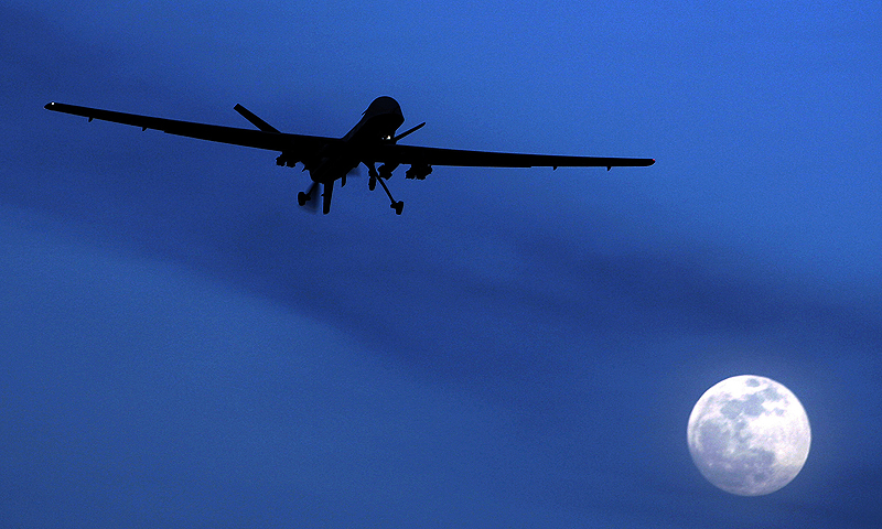 A US Predator drone flies over the moon.—Photo by AP