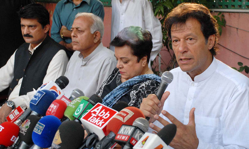 Chairman Pakistan Tehreek-i-Insaf Imran Khan addressing a press conference. — Online Photo by Waseem Khan
