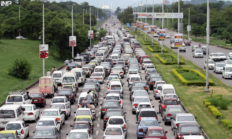 A massive traffic jam can be seen due to police checks post on Islamabad Highway on Tuesday. – INP Photo