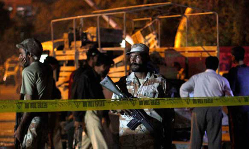 Ranger stands guard at the site of a bomb explosion in Karachi. – Photo by Reuters/File