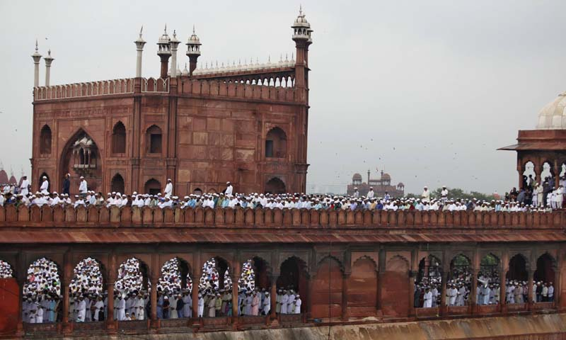 Muslims pray at the Jama Masjid (Grand Mosque) during Eid ul-Fitr in the old quarters of Delhi August 9, 2013. — Photo Reuters