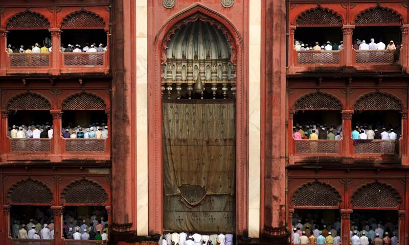 Indian Muslims offer Eid u-Fitr prayers at the Nakhoda Mosque in Kolkata on August 9, 2013. — Photo AFP