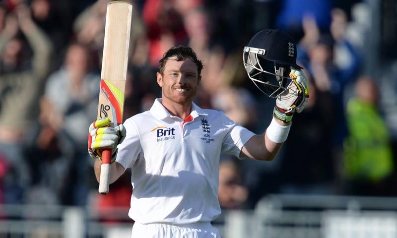 England's Ian Bell celebrates his century during the fourth Ashes test cricket match against Australia at the Riverside cricket ground, Chester-Le-Street. -Reuters Photo