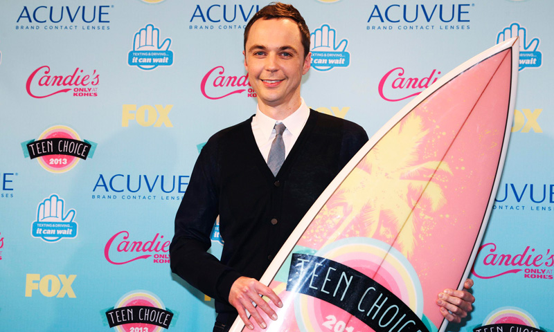 "Actor Jim Parsons poses after winning the Choice Comedy TV actor award for his role in ""The Big Bang Theory""."