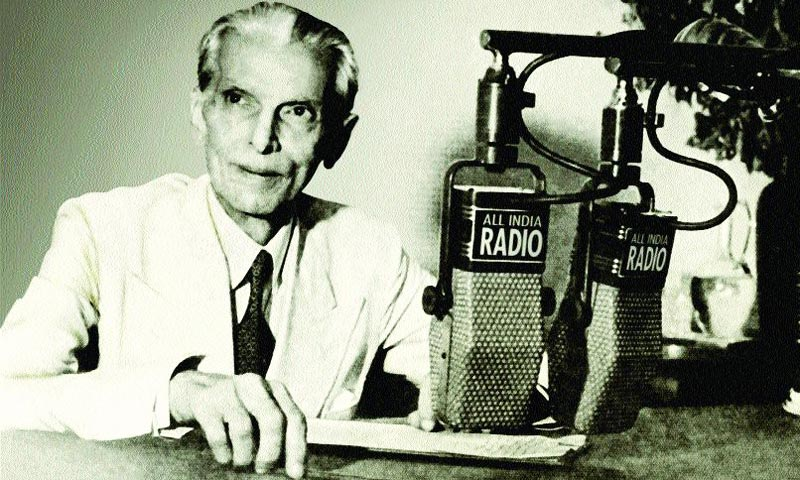 Quaid-i-Azam addressing the Muslims of British India on the partition plan.