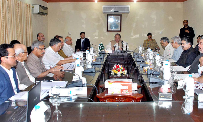 Prime Minister Nawaz Sharif presiding over first meeting of Steering committee for development of Pakistan Power Park, Gadani. — Photo by APP