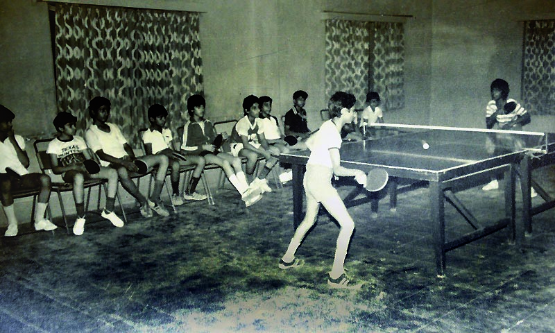 The 30x60 feet hall of Islamia Club that produced severl international players. — Photo courtesy :Anwer Zuberi collection (reproduced by Fahim Siddiqui/White star)