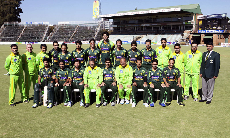 Players and coaching staff of the Pakistani cricket team pose for a group photo before a match against Zimbabwe on the first day of their one day international series in Harare, Zimbabwe, Tuesday, Aug. 27, 2013. — Photo by AP
