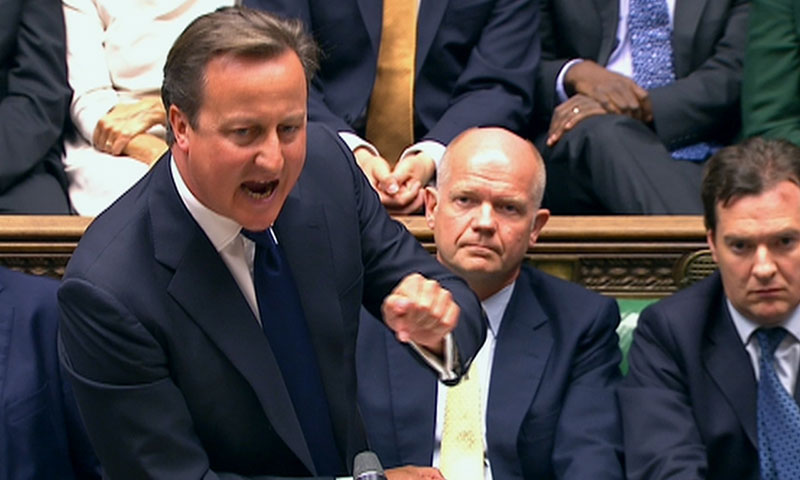 Britain's Prime Minister David Cameron is seen addressing the House of Commons in this still image taken from video in London August 29, 2013. — Photo by Reuters