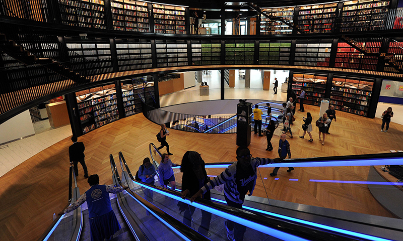 A general view shows the inside of The Library of Birmingham on its opening day in Birmingham central England. - Photo by AFP