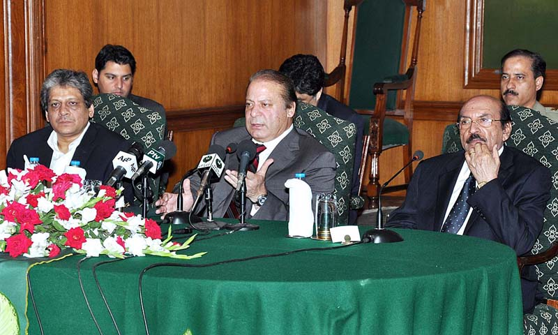 Prime Minister Muhammad Nawaz Sharif addressing the leading business community at Governor House.— Photo by APP