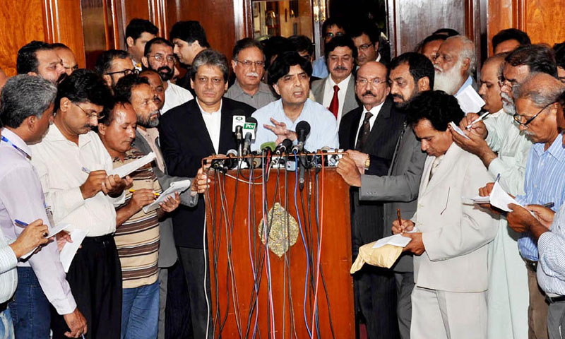 Interior minister Chaudhry Nisar along with Governor Sindh Dr Ishratul Ebad Khan and Chief Minister Sindh Syed Qaim Ali Shah addressing a press conference at Governor House, Karachi.