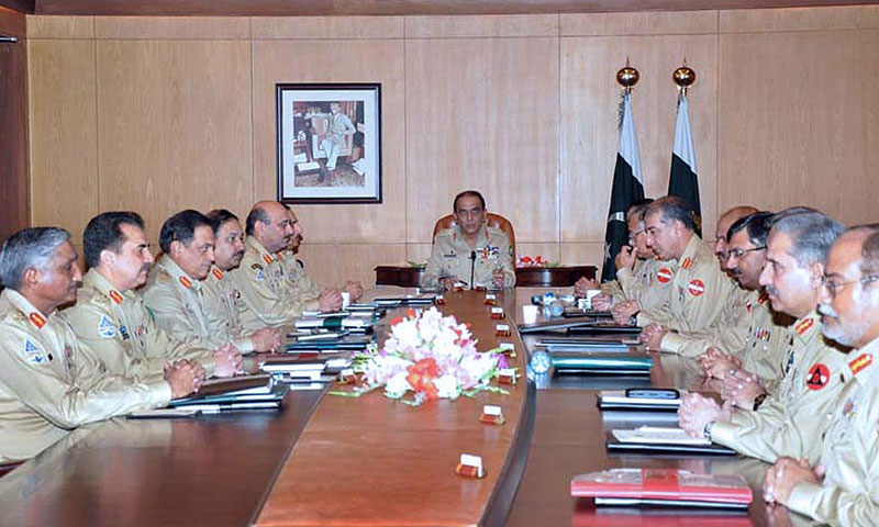 Chief of Army Staff General Ashfaq Parvez Kayani presiding over the 163rd Corps Commander's Conference at General Headquarters. — Photo by APP