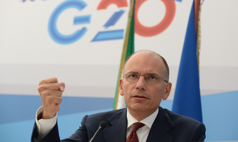 Italy's Prime Minister Enrico Letta gestures during a press conference at the end of the G20 summit. –Photo by AFP