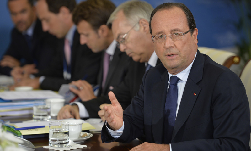 France's President Francois Hollande speaks during a bilateral meeting. –Photo by AFP