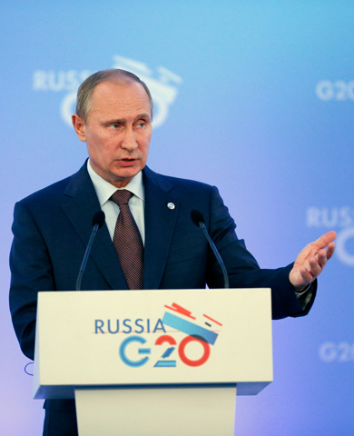 Russia's President Vladimir Putin speaks during a media conference. –Photo by AP