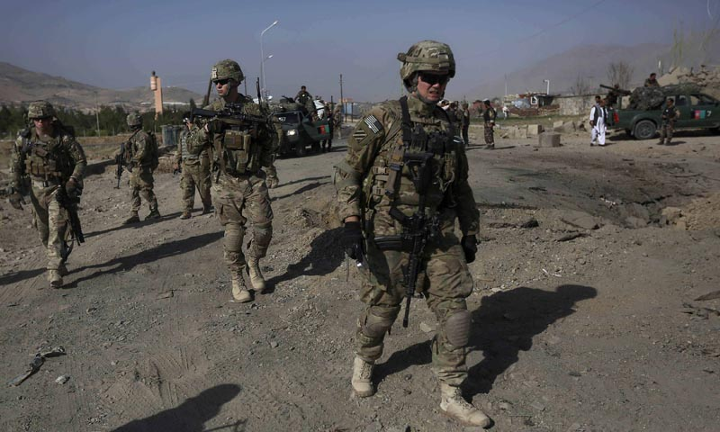 US troops, part of the Nato-led International Security Assistance Force (Isaf), arrive at the site of a suicide attack in Maidan Shar, the capital of Wardak province, September 8, 2013. — Photo by Reuters