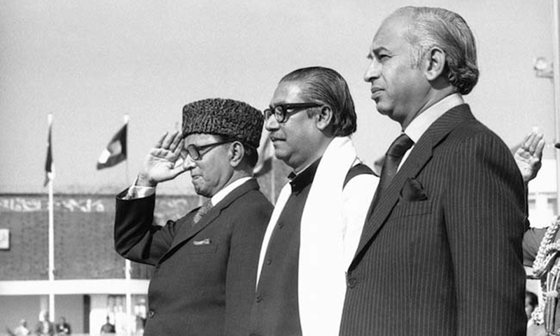 Left to right: Chaudhry Fazal Elahi, Sheikh Mujibur Rehman and Zulfikar Ali Bhutto
