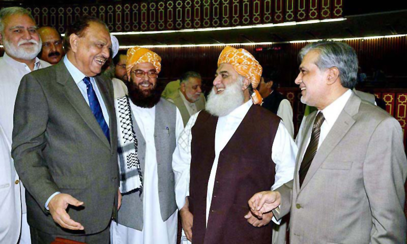 Chief of Jamiat Ulema-e-Islam–Fazl, Maulana Fazlur Rahman, congratulates Mamnoon Hussain on his victory in the presidential election
