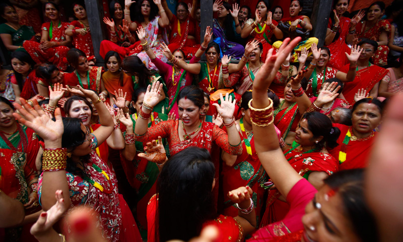 Teej is celebrated in Bihar, Chattisgarh, Madhya Pradesh, Andhra Pradesh, Haryana, Rajasthan, Punjab, and Uttar Pradesh in India. – Photo by Reuters