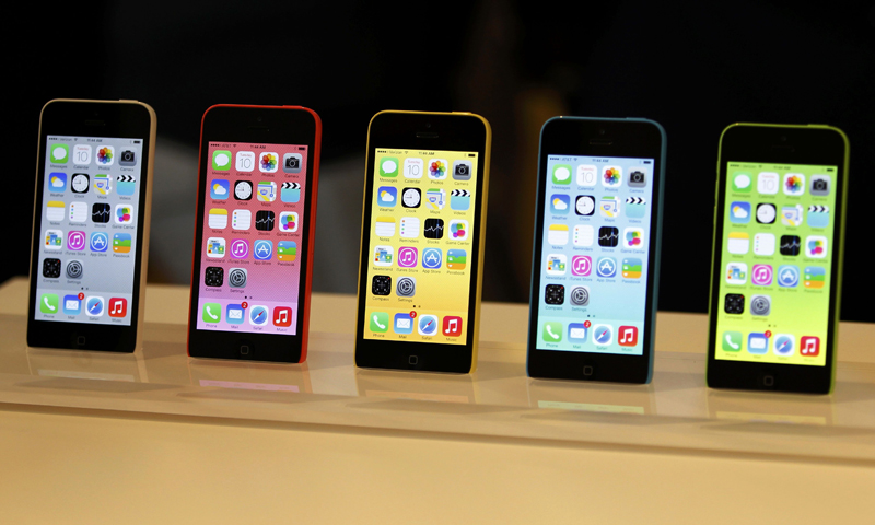 The five colors of the new iPhone 5C are seen after Apple Inc's media event in Cupertino, California September 10, 2013. — Reuters Photo