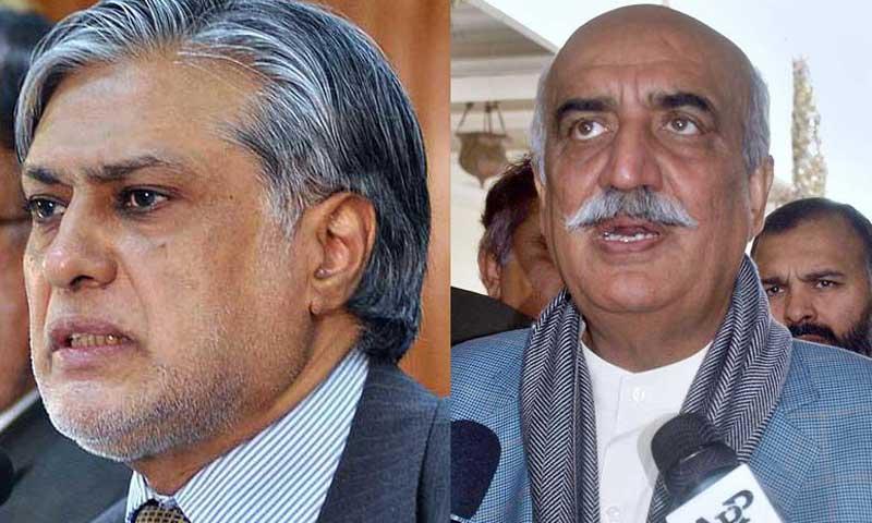 Ishaq Dar and Syed Khurshid Shah. — File