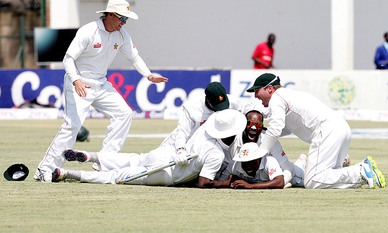 Zimbabwe's first Test win over Pakistan since 1998 meant the two sides shared the series 1-1. -Photo by AFP