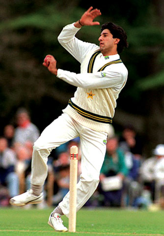 Wasim Akram...taking advantage of his left-arm angle.