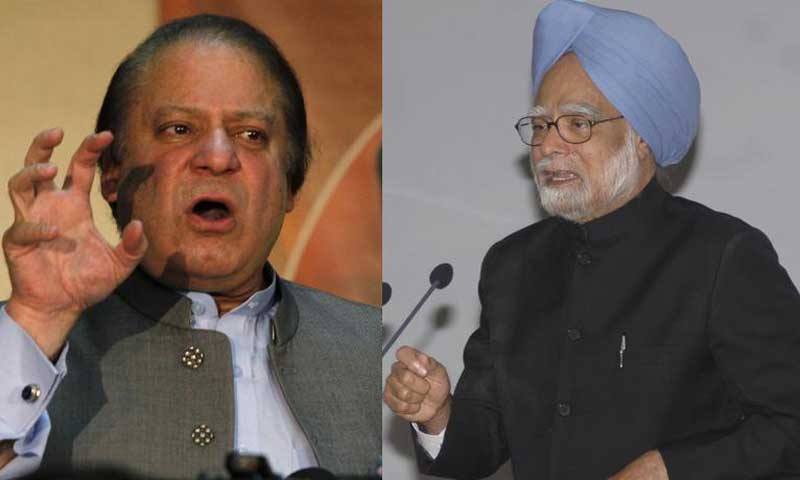 Nawaz Sharif and Manmohan Singh. — File photo
