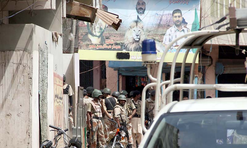 A Rangers spokesperson said that 19 suspects were arrested during operations were conducted in Chanesar  Goth, Shah Faisal, Green Town, Rasheedabad, Taiser town, North Karachi, Quaid-i-Azam colony and North Nazimabad areas of Karachi.  — Photo by PPI