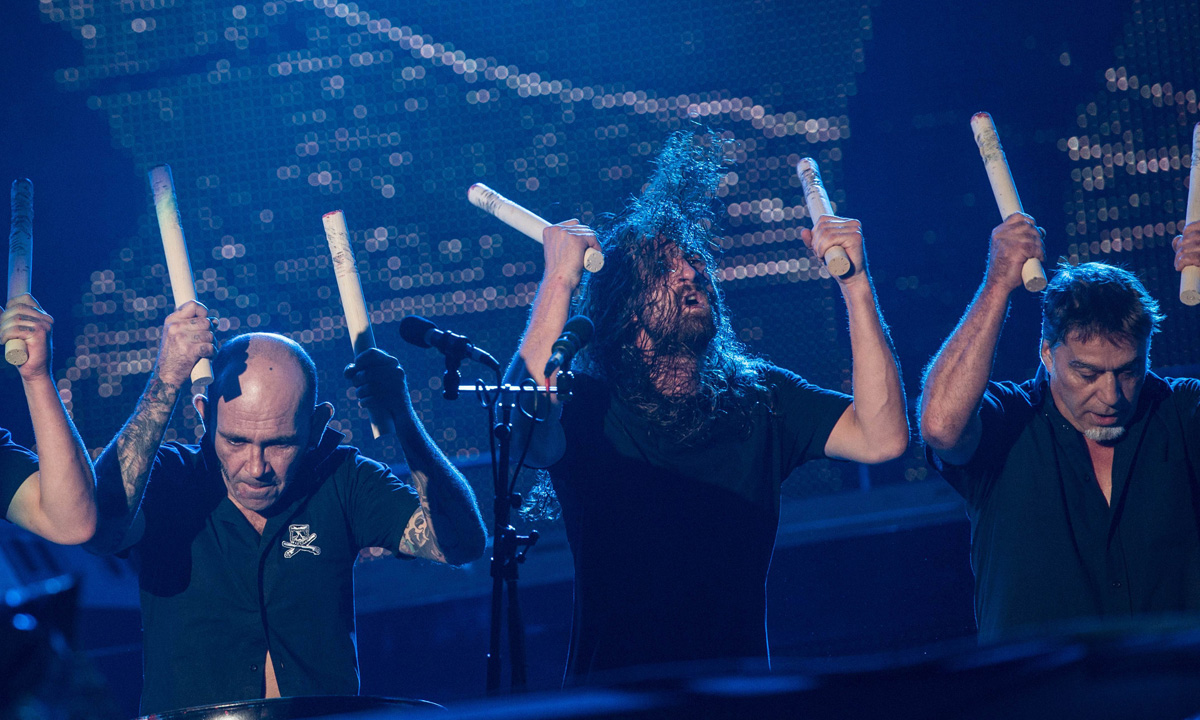 French percussion band Tambours du Bronx performs alongside Sepultura.