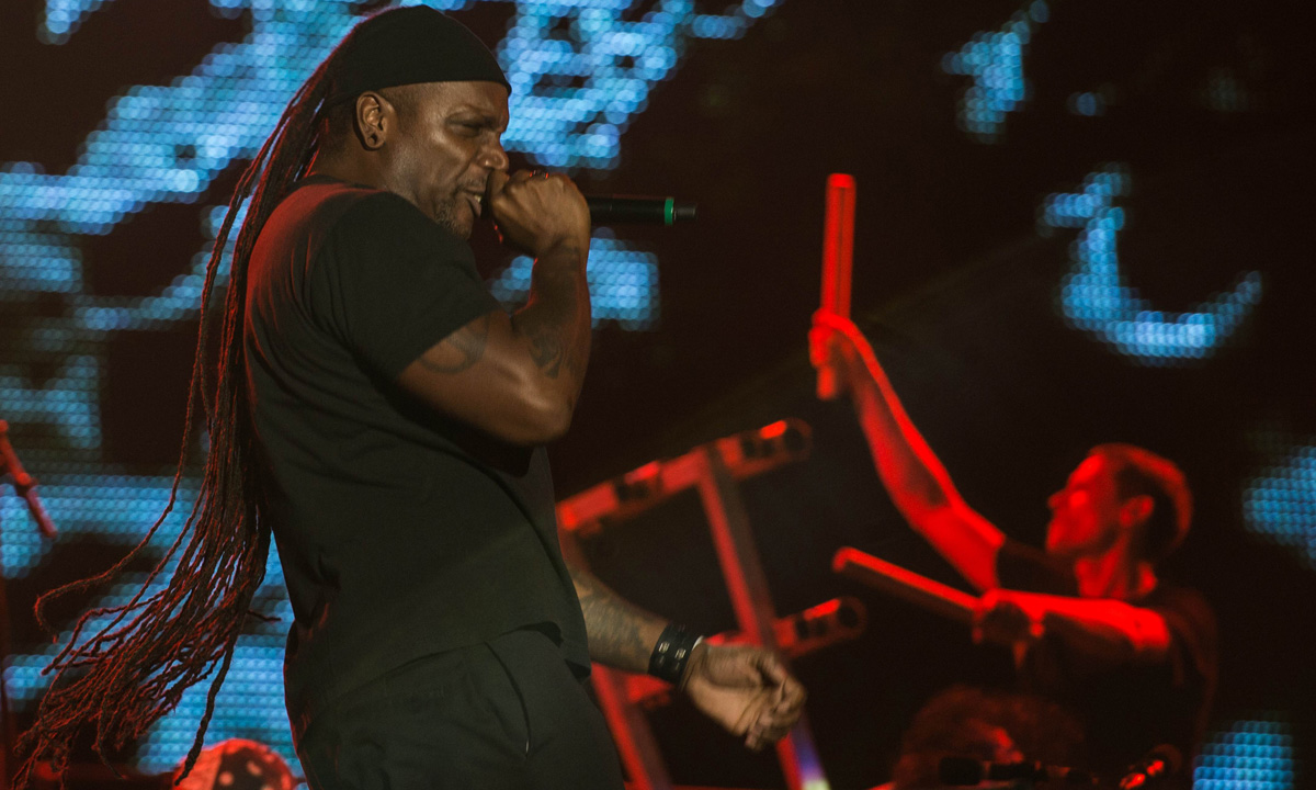 Sepultura's front-man Derrick Green performs during the 'Rock in Rio' music festival.