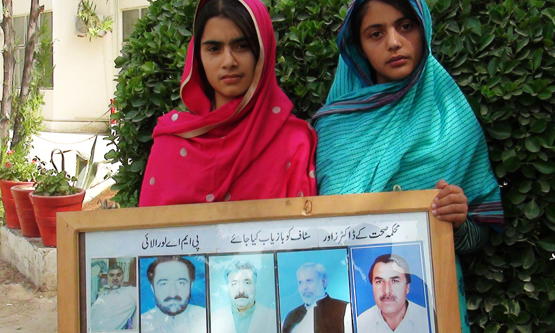 Daughters of a kidnapped doctor protest in Quetta. — Photos provided by author