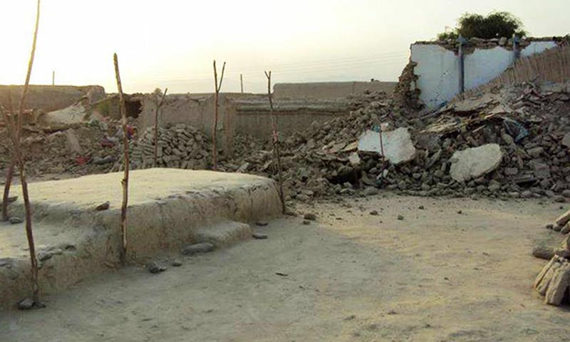 A view of houses which collapsed in the area of Awaran, Balochistan due to the earthquake which jolted many areas of Pakistan on Tuesday. — ONLINE PHOTO
