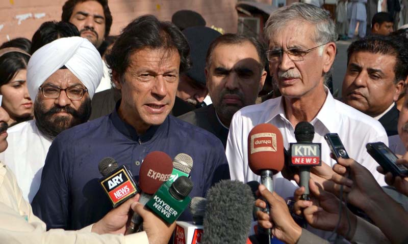 Without holding talks with the militants, PTI chief Imran Khan said, it would not be possible to end terrorism. He warned that the war against terrorism would continue to haunt the people of the country if his suggestion for a Taliban office was not taken seriously. — Photo by PPI