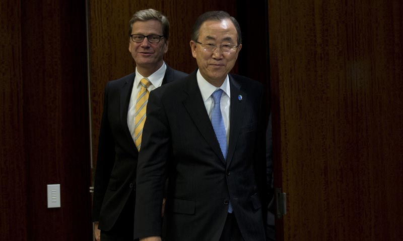 The UN Secretary General Ban Ki-moon (R) meets with Guido Westerwelle, Minister for Foreign Affairs of Germany, during the 68th Session of the United Nations General Assembly September 27, 2013 at the United Nations in New York.  — Photo by AFP