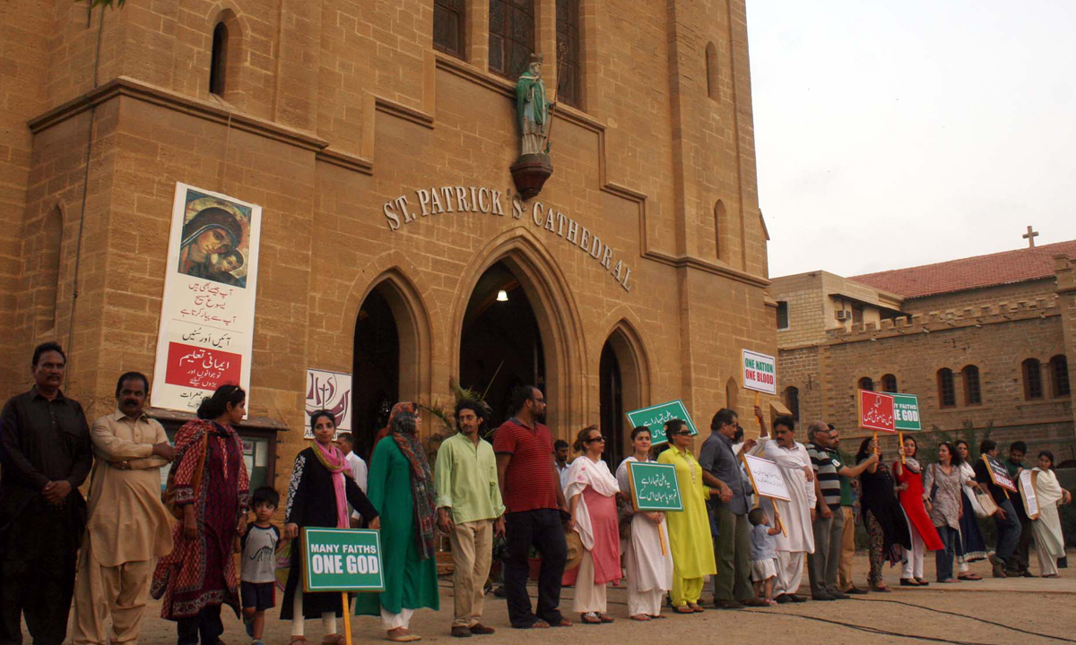 Sharmeela Farooqi along with workers of a local NGO stage a demonstration outside St. Patrick's Cathedral, to express solidarity with the victims of the twin blasts in a church in Peshawar. – Online photo