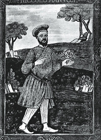 Portrait of Niccolao Manucci by unkown artist (from the front frontispiece of Mughal India, translation of Stoia do Mogor by Niccalao Manucci). - Photo by author