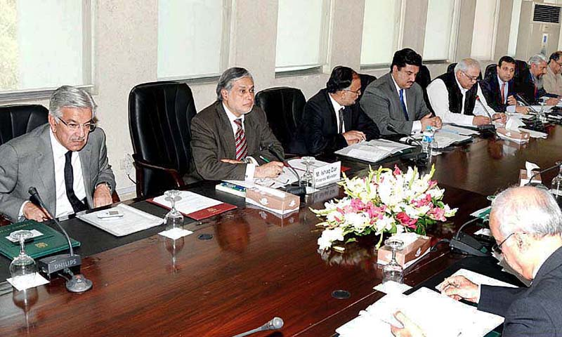 Federal Minister for Finance, Senator Muhammad Ishaq Dar chairing a meeting of Cabinet Committee on Privatisation.  — Photo by APP