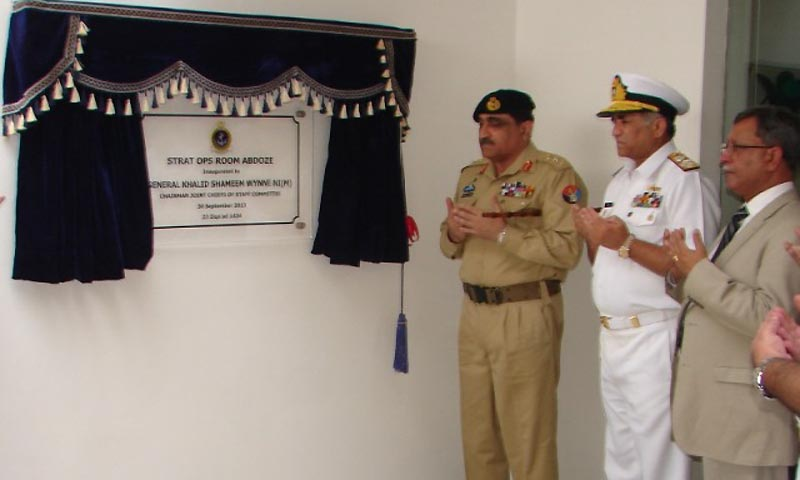 General Khalid Shameem Wynne and  Admiral Mohammad Asif Sandila Chief of the Naval Staff are seen at the inaugration ceremony.  — Photo courtesy Inter Services Public Relations