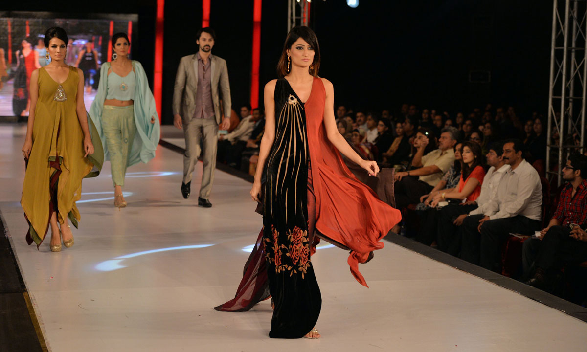 Models present creations by Pakistani designer Sobia Zuha on the last day of the Islamabad Fashion Week. – Photo by AFP