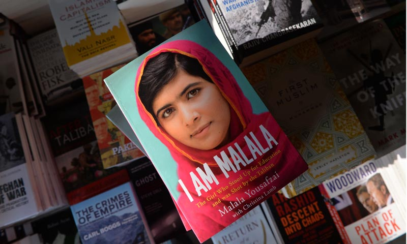A copy of the memoirs of Pakistani child activist Malala Yousafzai is pictured in a bookstore in Islamabad on October 8, 2013. — Photo by AFP