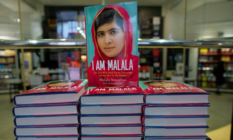 An autobiography by Pakistani schoolgirl Malala Yousafzai, entitled 'I am Malala' is pictured in a book store in London, on October 8, 2013. — Photo by AFP