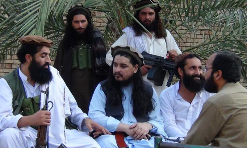Leader of the Pakistani Taliban, Hakimullah Mehsud during interview with a  BBC correspondent. — Photo by INP with the courtesy of BBC