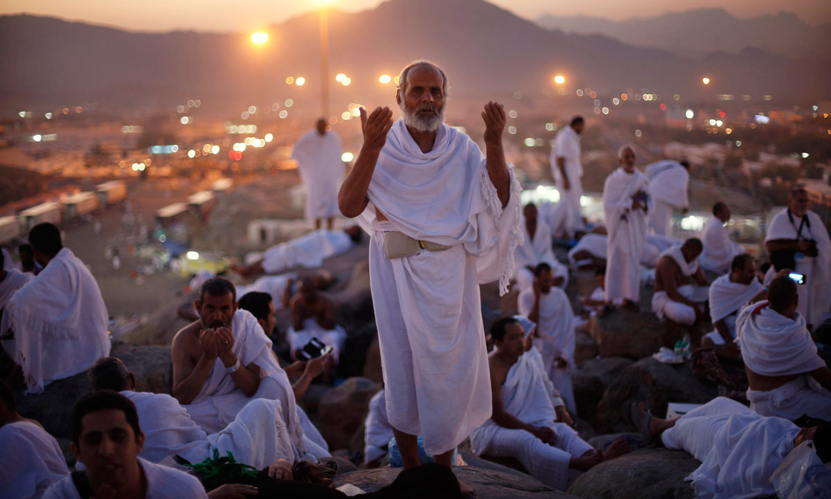 A Pilgrim prays atop Mount Arafat during the peak of the annual haj pilgrimage, near the holy city of Mecca. – Photo by Reuters