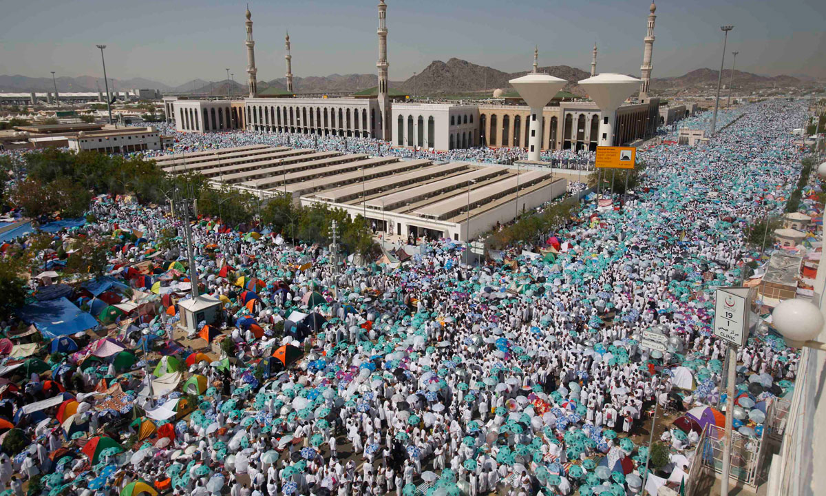 Muslim pilgrims gather near the Namera mosque on the plains of Arafat, near the holy city of Mecca. – Photo by Reuters